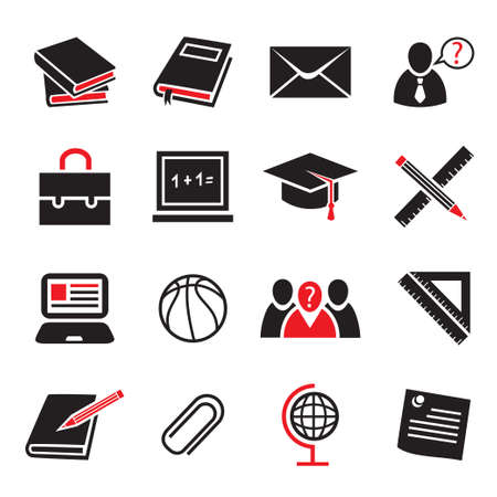 contact book: School and Education Icon Set for web and mobile  All elements are grouped