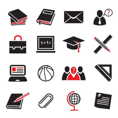 Schule und Bildung Icon für Web-Set und mobile Alle Elemente werden gruppiert
