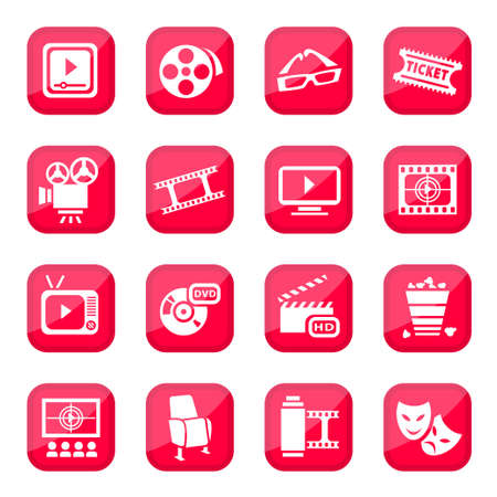 Cinema icon set for web and mobile  All elements are grouped  Vector