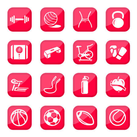weight machine: Fitness and Sport icon set for web and mobile  All elements are grouped