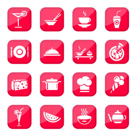 Food Vector Icon Set for web and mobile  All elements are grouped  Vector