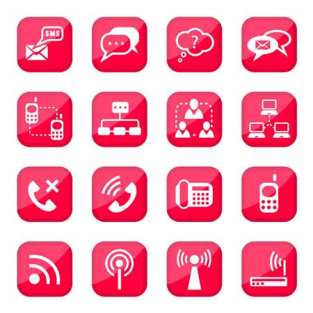 Communicatie Vector Icon Set voor web en mobiele Alle elementen worden gegroepeerd Vector Illustratie