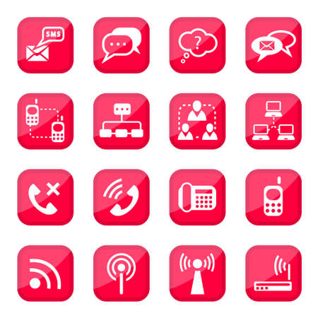 Communication Vector Icon Set for web and mobile  All elements are grouped  Vector