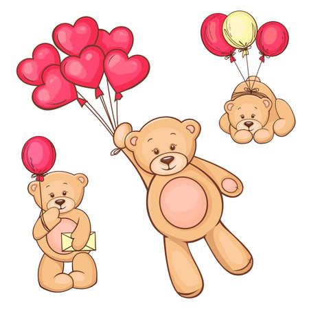 Illustration von niedlichen Teddybär mit rotem Herz Luftballons