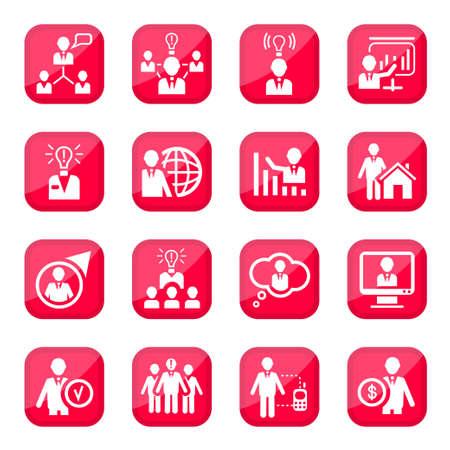 Human Resources Icône Set pour le web et mobiles Tous les éléments sont regroupés Vecteurs