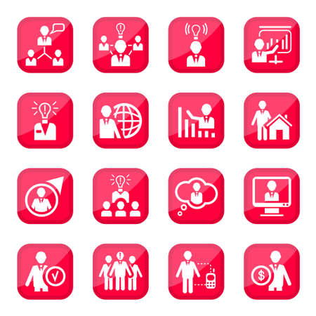 Human Resources Icon Set for web and mobile  All elements are grouped  Vector