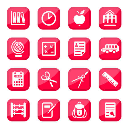 School and Education Icon Set for web and mobile  All elements are grouped  Vector