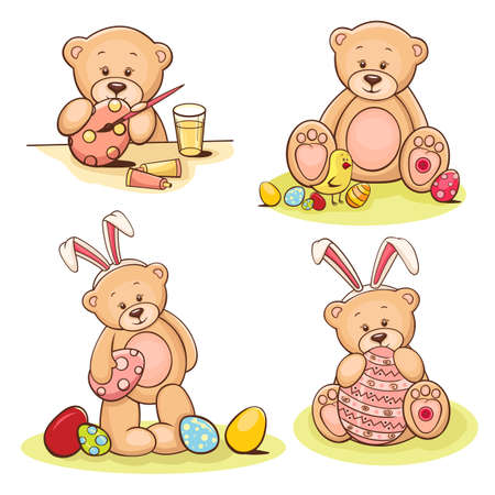 april clipart: Illustration of cute teddy bear with Easter egg