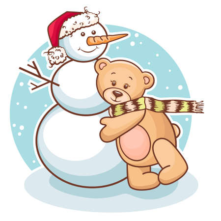 Cute Illustration Of Christmas Teddy Bear And Snowman, for xmas design  Vector
