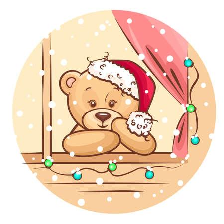osos navideños: Ejemplo lindo de la Navidad del oso de peluche mirando por la ventana, para Navidad diseño Vectores