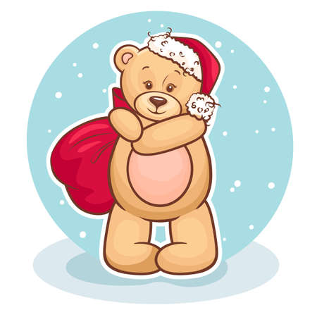 Cute Illustration Of Christmas Teddy Bear with gift bag, for xmas design  Vector