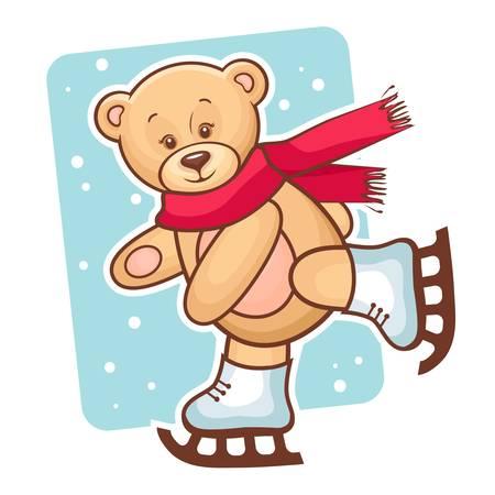 osos navideños: Ilustración colorida de oso de peluche lindo de patinaje