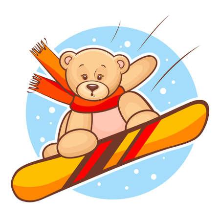 Colorfull Illustration Of Cute Teddy Bear Snowboarding