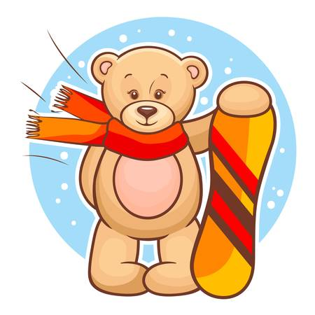 Colorfull Illustration Of Cute Teddy Bear With Snowboard  Vector