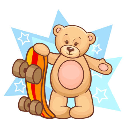 Colorfull Illustration Of Cute Teddy Bear With Skateboard  Vector