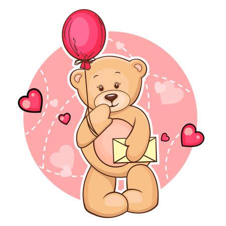 osos de peluche: Cartoon Ilustración De San Valentín linda del oso de peluche con el globo y mensaje