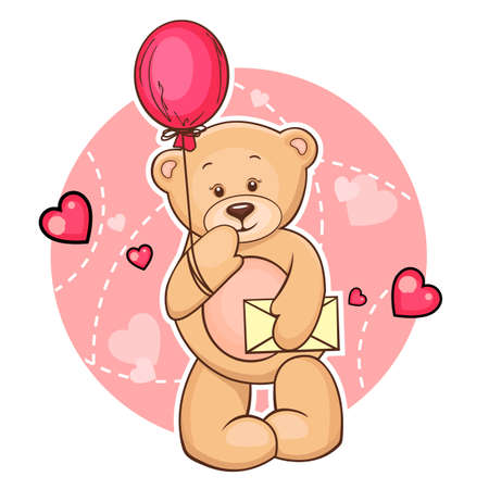 stuffed animals: Cartoon Valentine Illustration Of Cute Teddy Bear With Balloon And Message