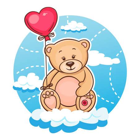 Ilustración De San Valentín linda del oso de peluche con el corazón rojo del globo