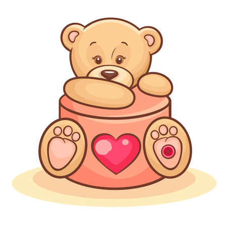 Illustration Of Cute Valentine Teddy Bear With Gift  Vector