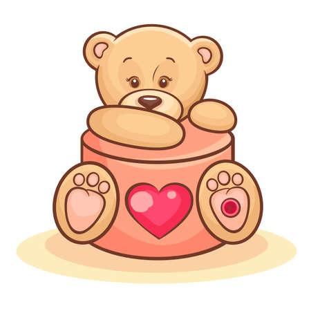 bear doll: Illustration Of Cute Valentine Teddy Bear With Gift