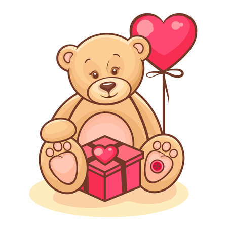 Illustration Of Cute Valentine Teddy Bear With Gift And Red Balloon  Vector
