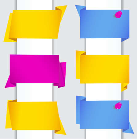 pushpins: Set Elegante De Coloridos Banners de papel de Origami con alfileres