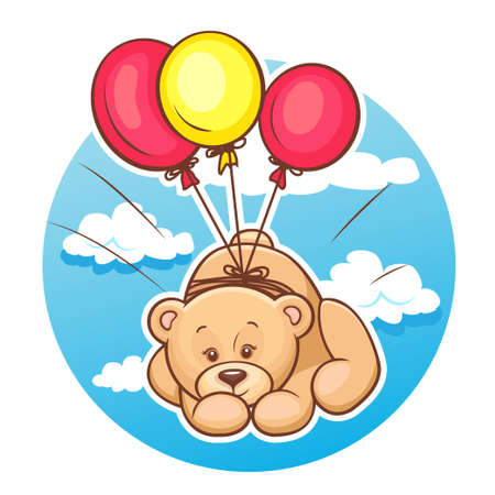 Illustration Of Cute Teddy Bear Flies On Balloons  Vector