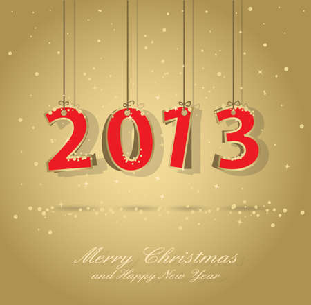 Happy New Year 2013 Gold And Red Greeting Card Stock Vector - 15025609