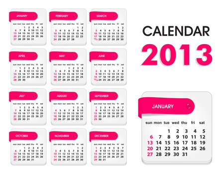 Vector Calendar 2013, All Elements Are In Separate Layers And Grouped, Easy To Edit  Vector