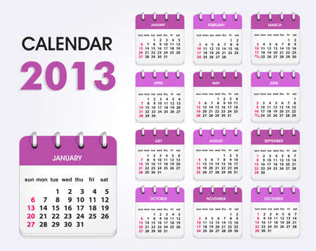 Calendar 2013, All Elements Are In Separate Layers And Grouped, Easy To Edit  Vector