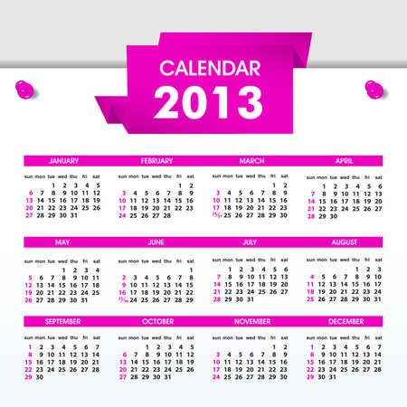 Calendar 2013, All Elements Are In Separate Layers And Grouped, Easy To Edit Stock Vector - 15099112