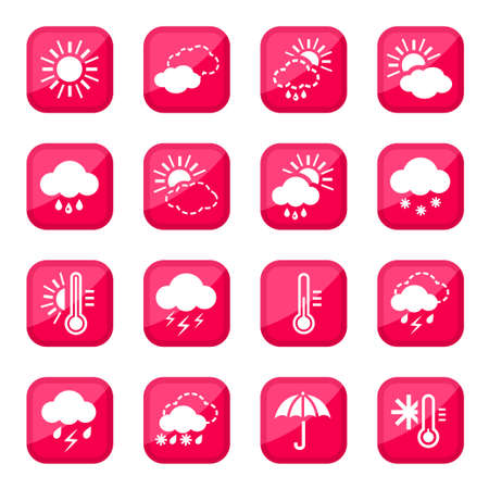 climatology: Red Weather  Icon Set for web and mobile  All elements are grouped  Illustration