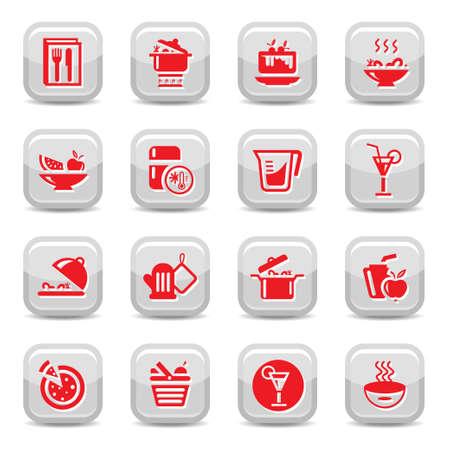 interface menu tool: Icon Set da cucina per il web e mobile Tutti gli elementi sono raggruppati