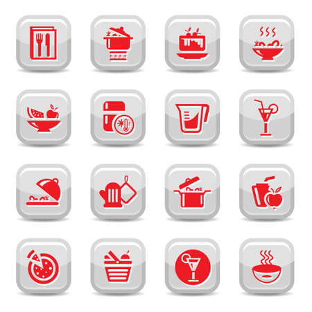 beverage fridge: Kitchen Icon Set for web and mobile  All elements are grouped  Illustration