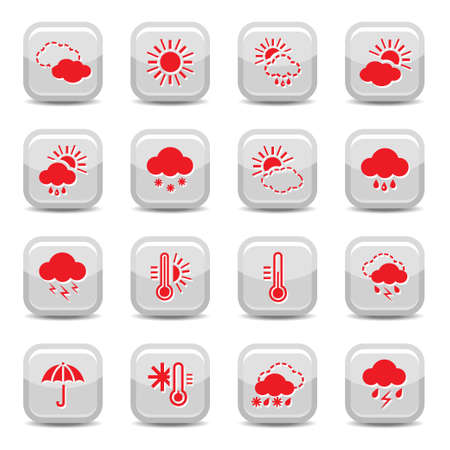 temperature: Weather Icon Set for web and mobile  All elements are grouped  Illustration