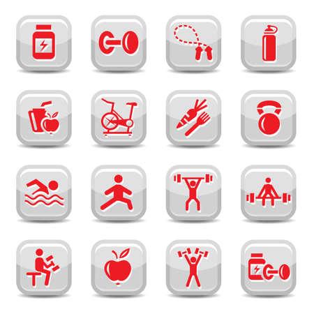 gym equipment: Vector Tutti gli elementi sono raggruppati.