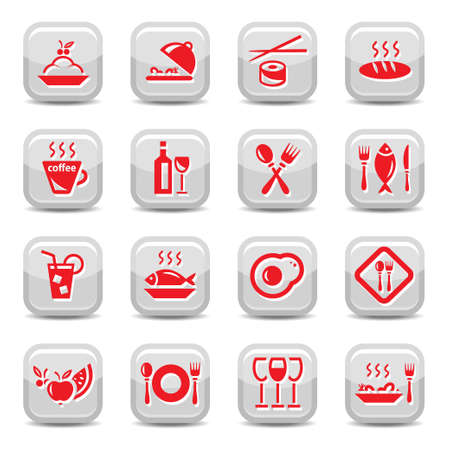 continental food: Restaurant Vector Icon Set for web and mobile. All elements are grouped.