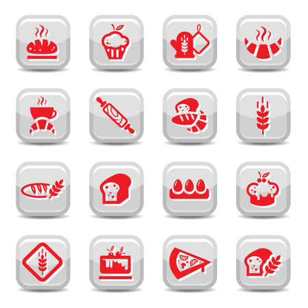 continental food: Bakery Icon Set for web and mobile. All elements are grouped. Illustration