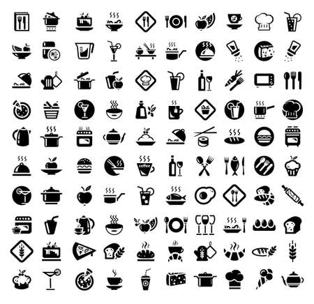 cooking: 100 Food and Kitchen Icons Set for Web Illustration