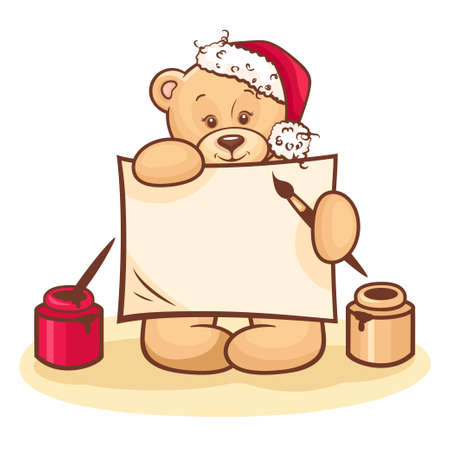 Illustration Of Cute Christmas Teddy Bear with blank note isolated on white background  Vector