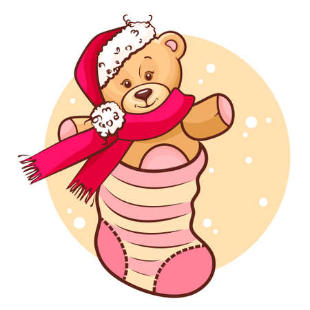 Illustration Of Cute Christmas Teddy Baby in Sock  Vector
