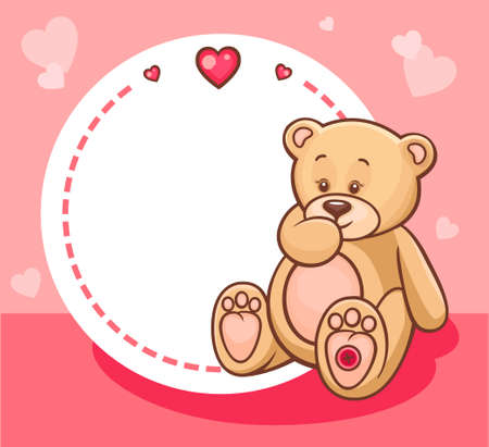 huggable: Illustration of Cute Valentine Teddy Bear with sign