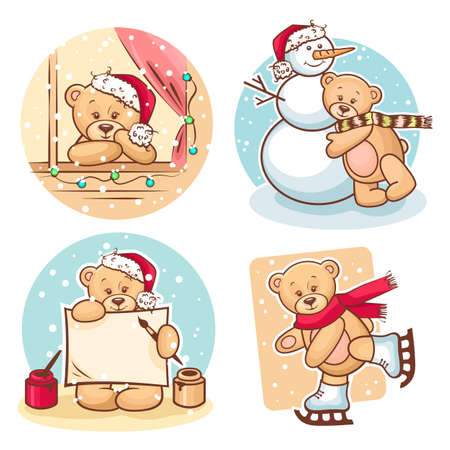 Cute Illustration Of Christmas Teddy Bears, for xmas design  Stock Vector - 16360724