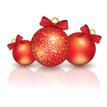 Christmas ball isolated on white background, red color  Vector