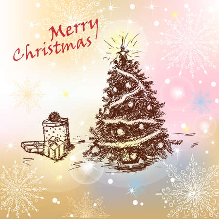 Hand Drawn Vintage Christmas Tree with balls and gifts  Vector Eps 10  Stock Vector - 16492817