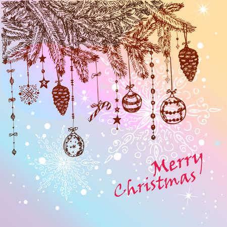 fur tree: Disegnati a mano albero di pelliccia di Natale con le palle, giocattoli e dei pini vettoriali Tutti gli elementi sono in strati separati e raggruppati, facile da modificare Vettoriali