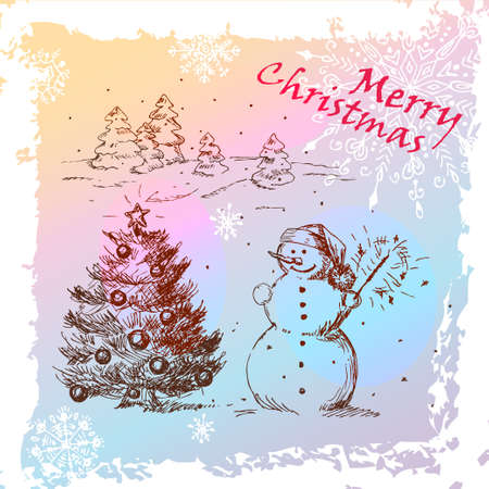 Christmas Hand Drawn Illustration With Snowman And Christmas Tree, for xmas design   Vector