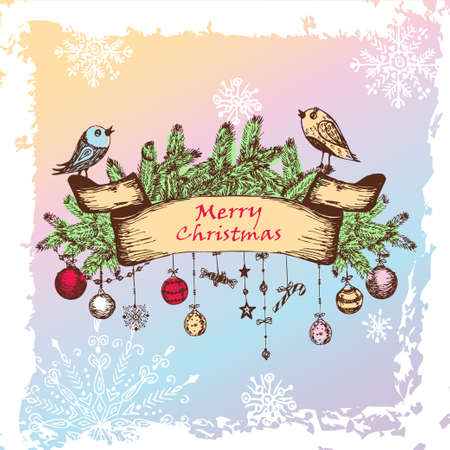 Christmas Illustration With Birds, Christmas Balls And Fir Branches   illustration  Vector