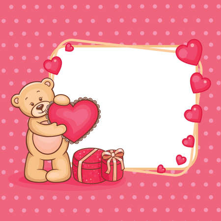Cute Valentine Teddy Bear with sign  Vector