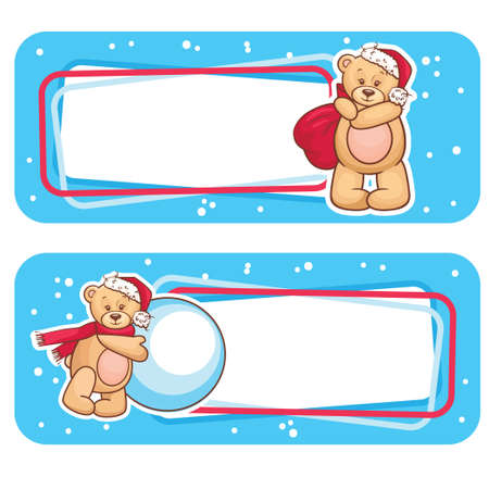 Christmas Season Banner, Winter Labels with Teddy Bear  Stock Vector - 16750662